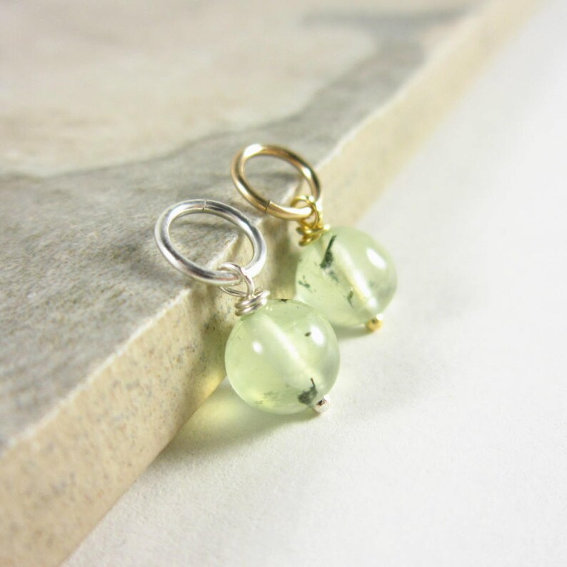 Light Green Prehnite Epidote  Yellow Prehnite Necklace Charms image 0