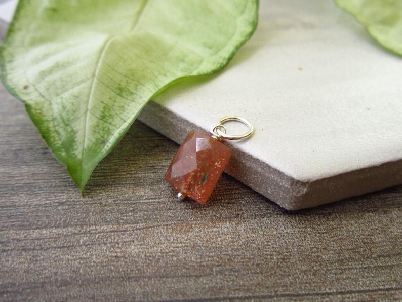 Genuine Gemstone Oregon Sunstone Jewelry Handmade Pumpkin Orange Sunstone Jewelry Wire Wrapped Sterling Silver Charms 14k Gold Pendant