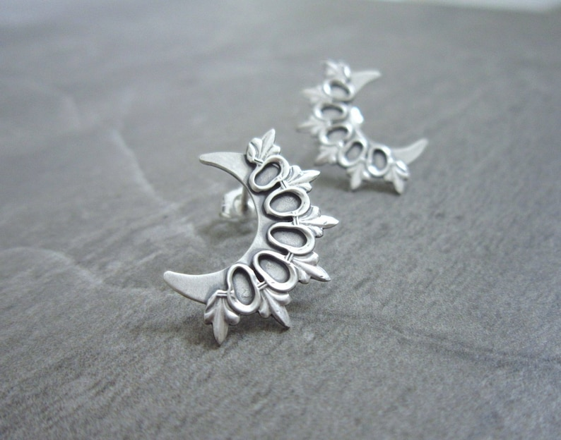 Sterling Silver Earrings  Edgy Statement Jewelry Earring  image 0