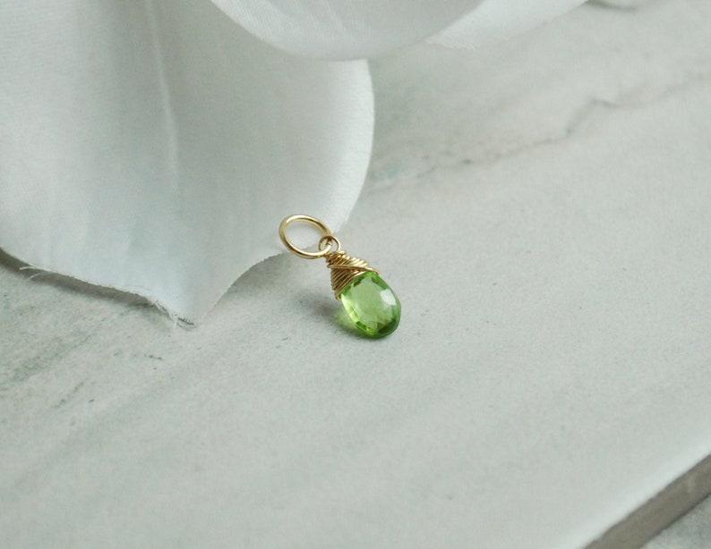 Genuine Gemstone Peridot Gemstone  14k Gold Charms  Wire image 0