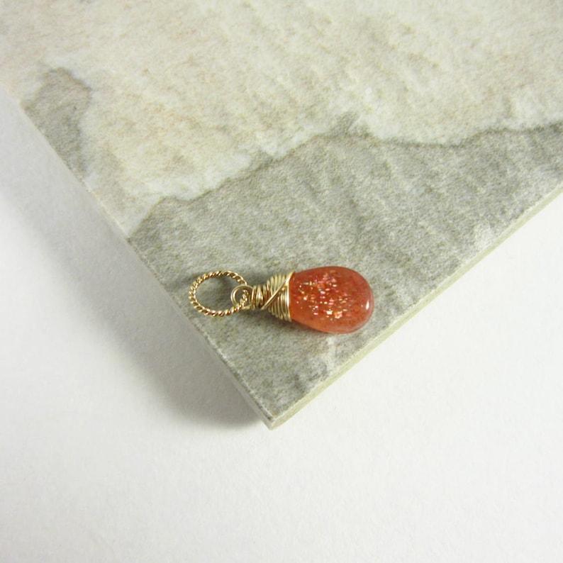 M  Orange Sunstone Jewelry  Sunstone Pendant  14k Gold image 0