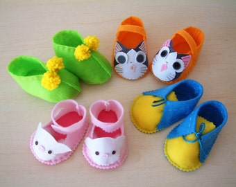 4 Felt Baby Shoe Sewing Patterns for 10--H03(1,2,3,4)