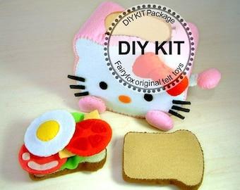 DIY Kit, play food,felt Toaster and breakfast,--K-T03