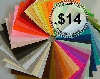 Felt Fabric--56 Felt sheets Mini set