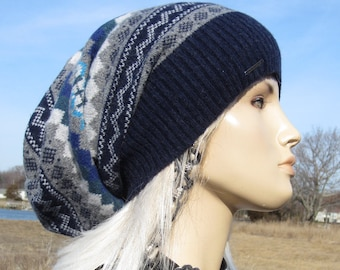 c8be53babf7 Long Back Fair Isle Slouchy Beanie Winter Lambswool Hat Striped Womens  Slouch Tam Navy Blue Baggy Loose Big Head Hat A1173