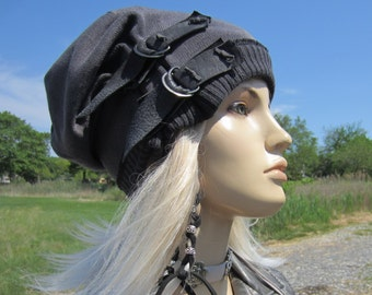 Post Apocalyptic Clothing Reworked Slouchy Beanie Hat Black  Charcoal Gray  Cotton Distressed Leather Belts Acid Washed Skull Cap A1972 fc705922c98