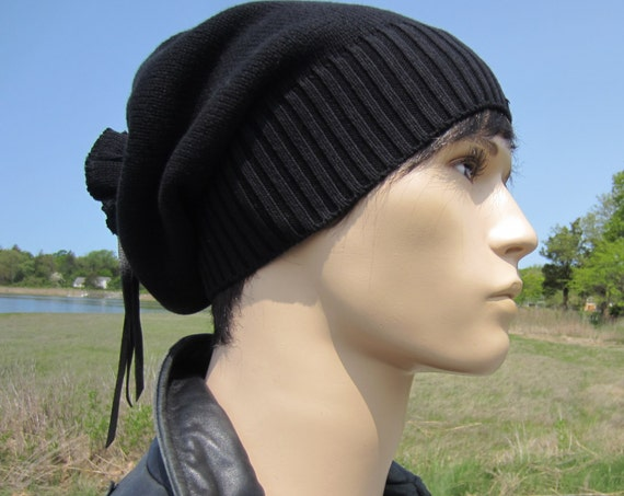 3904c90ba948e1 ... White Hats A1281 $38.00 Solid Black Beanie Men's Warm Winter Hat Slouchy  Tam Thick Knit Baggy Tie Back Beanies A1549
