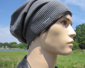 b6ceb74f25e9bd Basic Gray Beanie No Words, Lightweight Hats Summer Slouchy Beanie Charcoal  Grey Plain Cotton Knit Slouch Tam A1999