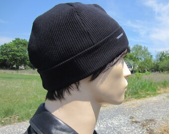 b471f1145a4 Men s Thermal Knit Beanie Hat Skull Cap Hat Black Cotton Lightweight Waffle  Knit Logo Cuff Beanies Watch Cap A1883. VACATIONHOUSE