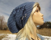 Denim Blue Hat Cable Knit Beanie Tam Slouchy Lace up Corset Leather Tie A1228