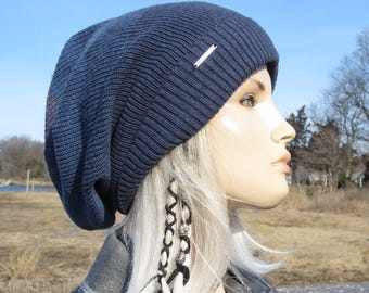 6a69957808d OMBRE Blues...Oversized Slouchy Tam Big Head Beanie Unique Denim Blue  Stripe Thick Warm Winter Cuff Knit Dread Hat A1966
