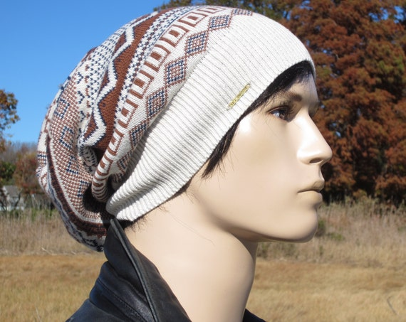 94d57601 ... Men's Slouchy Beanies Knit Slouch Tam Hat Ivory Blue Brown Fair Isle  Striped Oversized Cotton Beanie