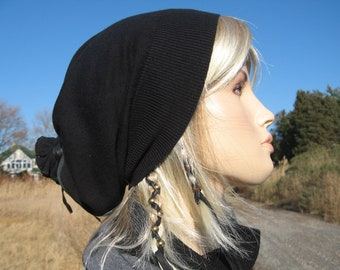 Basic Cashmere Black Slouchy Beanie Womens Slouch Hat Plain Solid Black A49