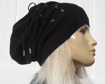 910ff041aa2 Supima Cotton Bohemian Clothing Women s Black Slouchy Beanies Knit Hat  Slouch Tams Leather Corset Lace Tie by Vacationhouse A2043