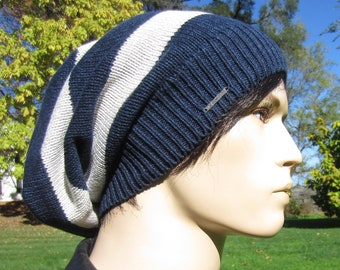 d4c530f1507 Long Back Slouchy Tam Hat Men s Navy light Gray Striped Big Head Baggy Knit  Slouch Beanie A1680