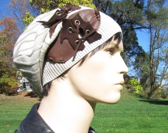 Post Apocalyptic Clothing Slouchy Beanie Hat Tan Cotton Brown Leather Belts Tam with Corset Laced Ties  A1780