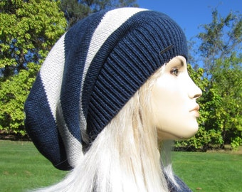37ac0a1e65d Long Back Slouchy Tam Hat Women s Navy Gray Striped Big Head Baggy Knit  Slouch Beanie A1680