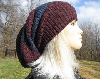 d467c496e1b Oversized Slouch Tam Hat Women s Navy Blue   Burgundy BOHO Clothing Thick  Bulky Chunky Cotton Big Baggy Wide Cuffed Loose Beanie A1963