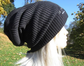 bc757ce3190 Post Apocalyptic Clothing Slouchy Beanie Hat Black  Charcoal Gray Cotton  Acid Washed Distressed Skull Cap Faux Leather trim A1277