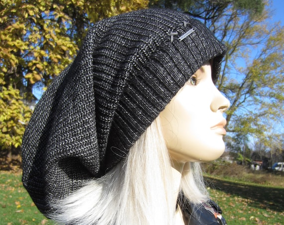80296fee ... Post Apocalyptic Clothing Oversized Slouch Tam Hat Black/Charcoal Gray  Distressed Washed Look Women's Thick