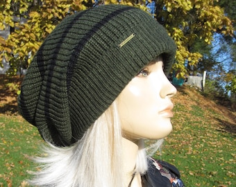 236800d5ef0 Bulky Tam Women s Knit Hat Chunky Big Baggy Oversized Slouch Hat Olive  Green