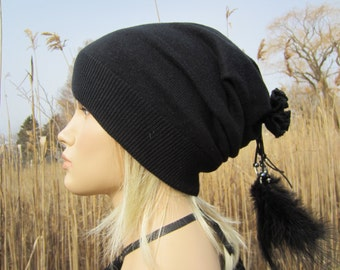 50102a65f75 Edgy Cashmere Slouchy Beanie Womens Hat Black Knit Tam Bohemian clothing  with Leather and Feather Hair Ties A806