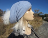 Real Fur Pom Pom Hats Cashmere Slouchy Beanie 100 Pure Cashmere Bobble Hat Light Baby Blue Womens Baggy Back Tam A49 C POM