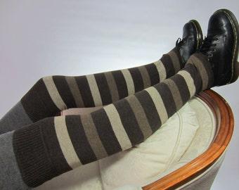 Thigh Highs Boot Socks Striped Leg Warmers Brown Tan Stripe Cotton Knit A231