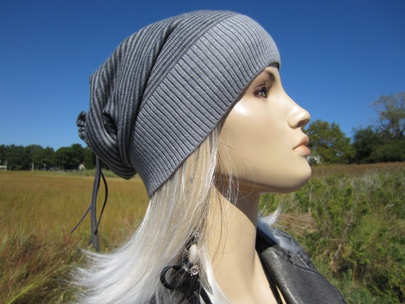 1d3dd336a1d Merino Wool Slouchy Beanie Hat Womens Stripe Charcoal Gray