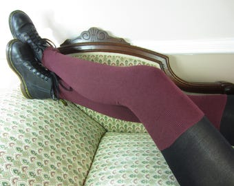 Cashmere Thigh Highs Socks Over the Knee Sock Leg warmers Boot Socks Burgundy  Cotton Blend Sweater Knit A1362