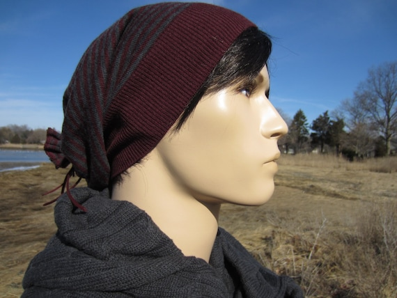 0c602e3e4d1 Merino Wool Hat Men s Slouch Beanie Burgundy Grey Striped Tam Stripe Slouchy  Knit Hat A1588