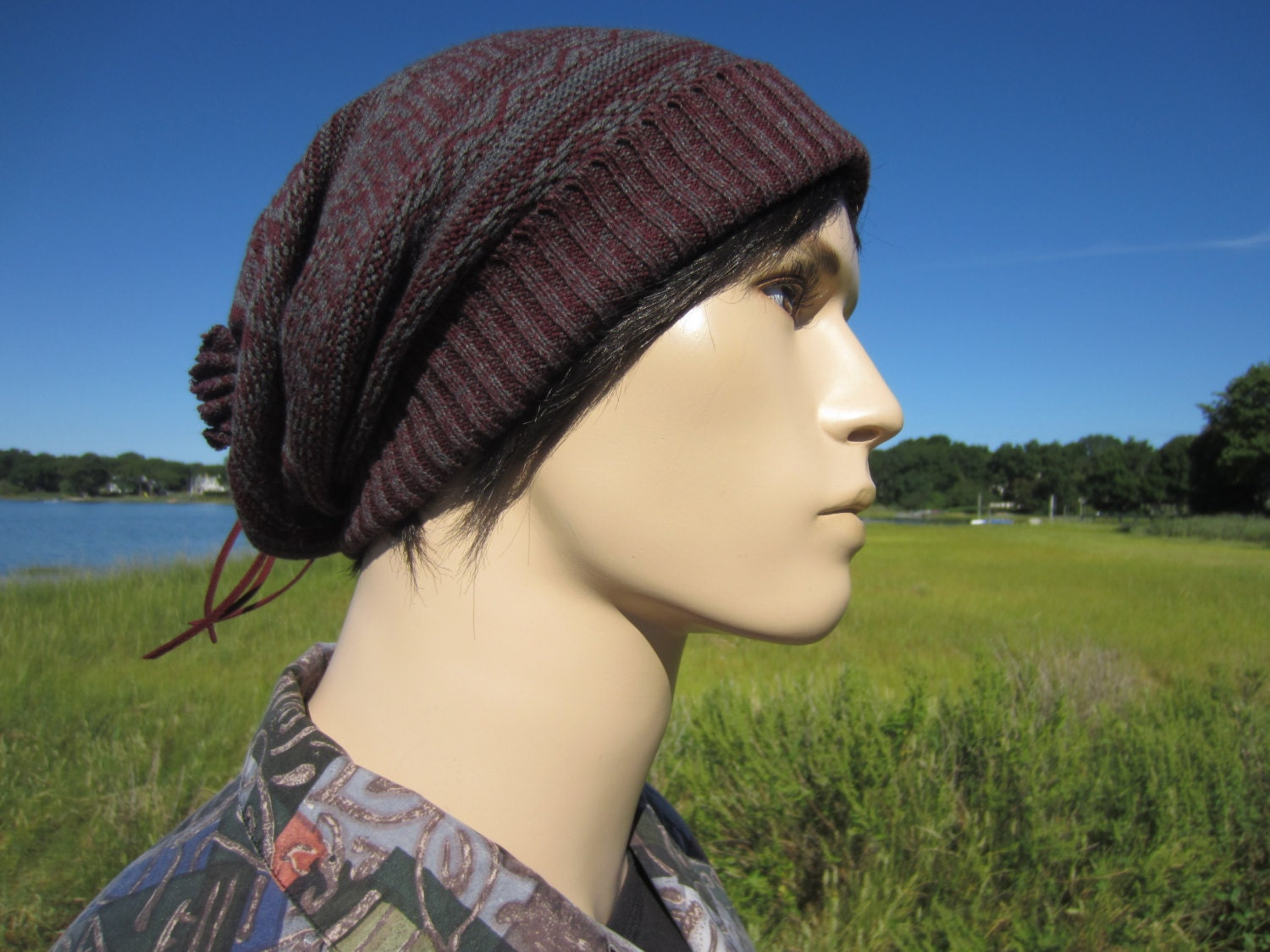 Fair Isle Knit Hat Big Slouchy Beanie Stocking Cap Burgundy   Gray Cotton  Tie Back Oversized Baggy Tam for Men A1638 0e63bb0d2d4