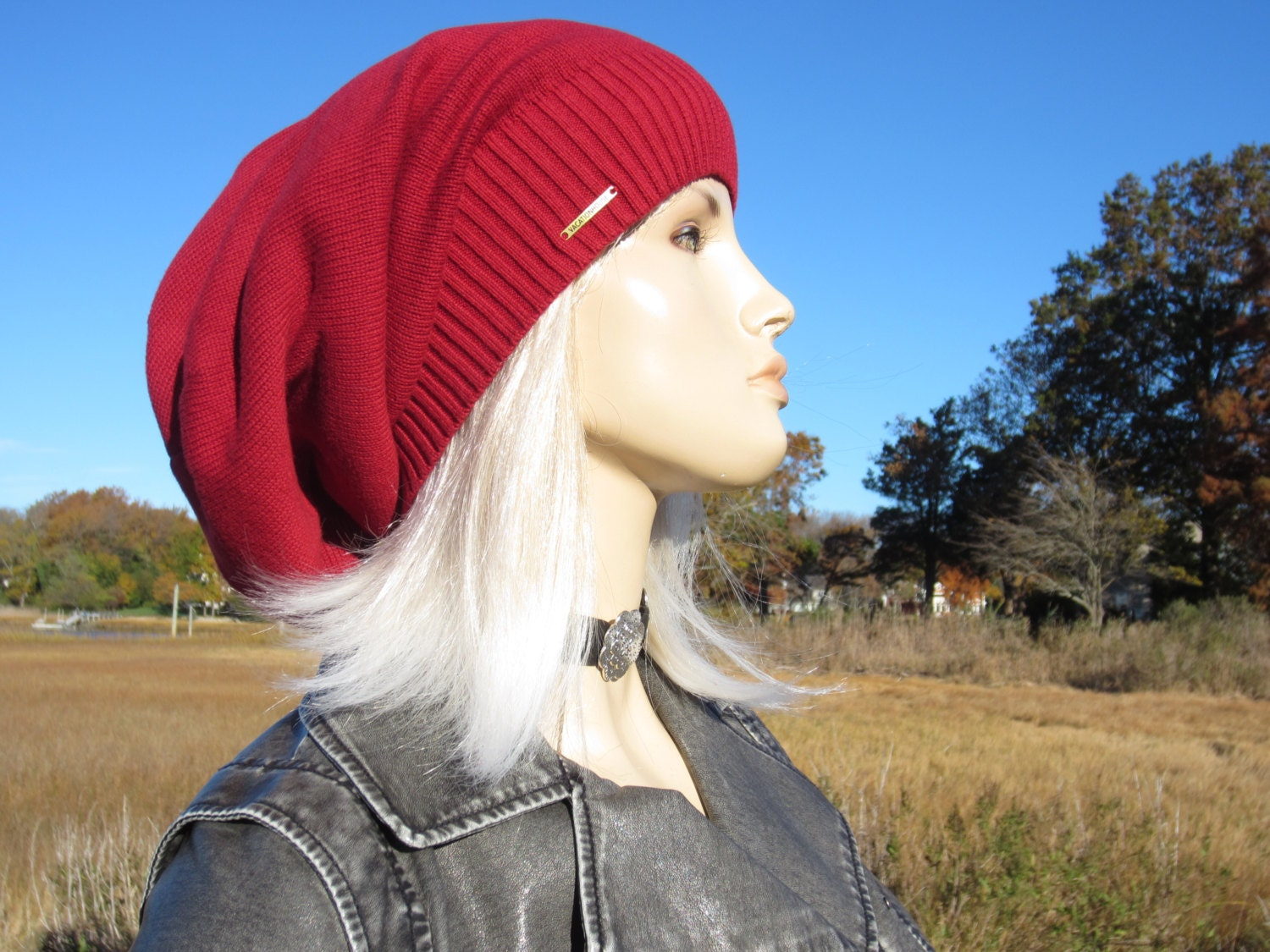 Big Slouchy Beanie Hat Red Knit Cotton Oversized Baggy Dreadlock Tam Basic  Plain No words By VACATIONHOUSE A1941 3fd1654b16a