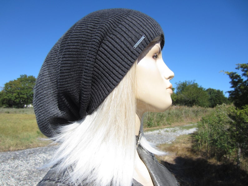 64705f7a0 Cool Hats,Slouchy Dread Tam Big Head Beanie Unique Charcoal Gray OMBRE  Stripe Oversized Thick Warm Winter Knit Dread Hat A1966 / A1837