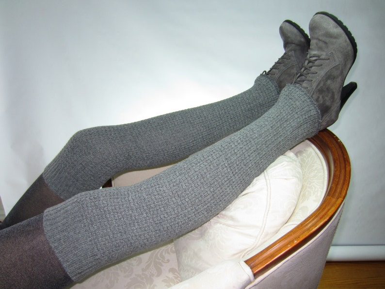 70212c900 Tall Thick Nubby Sweater Knit Leg warmer Thigh Highs Gray Over