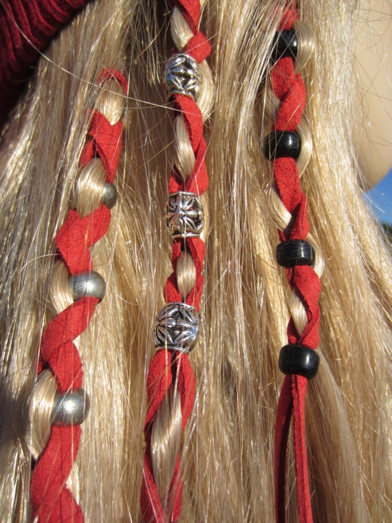 BOHO Clothing Hair Jewelry Ponytail Holders Leather Hair Ties Wraps Beads