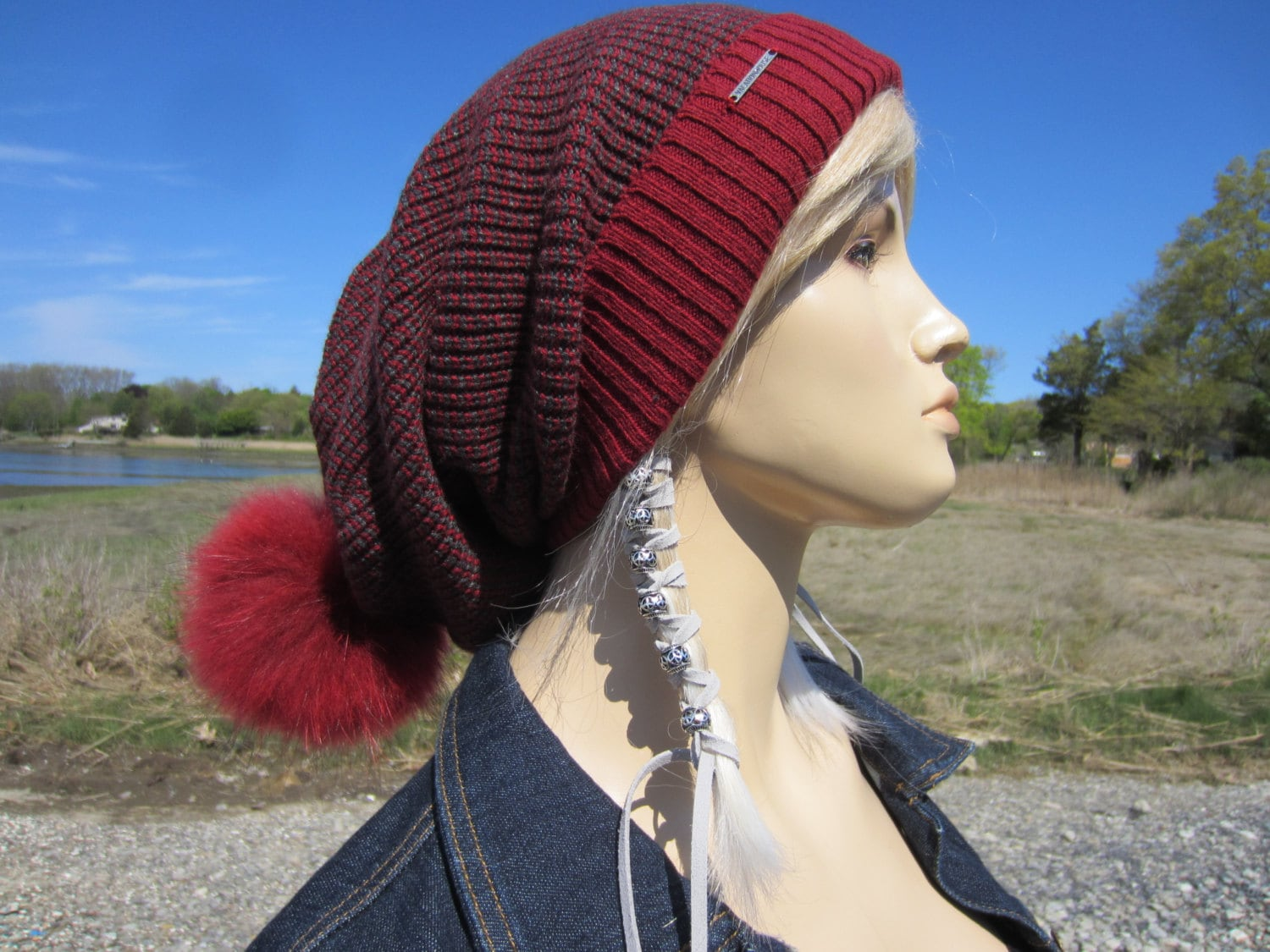 28fdd88bf93 Real Fur Pom Pom Hats bobble Slouchy Beanie Stocking Cap Red Gray Cotton  Knit Tam Baggy Long Hats A1818P