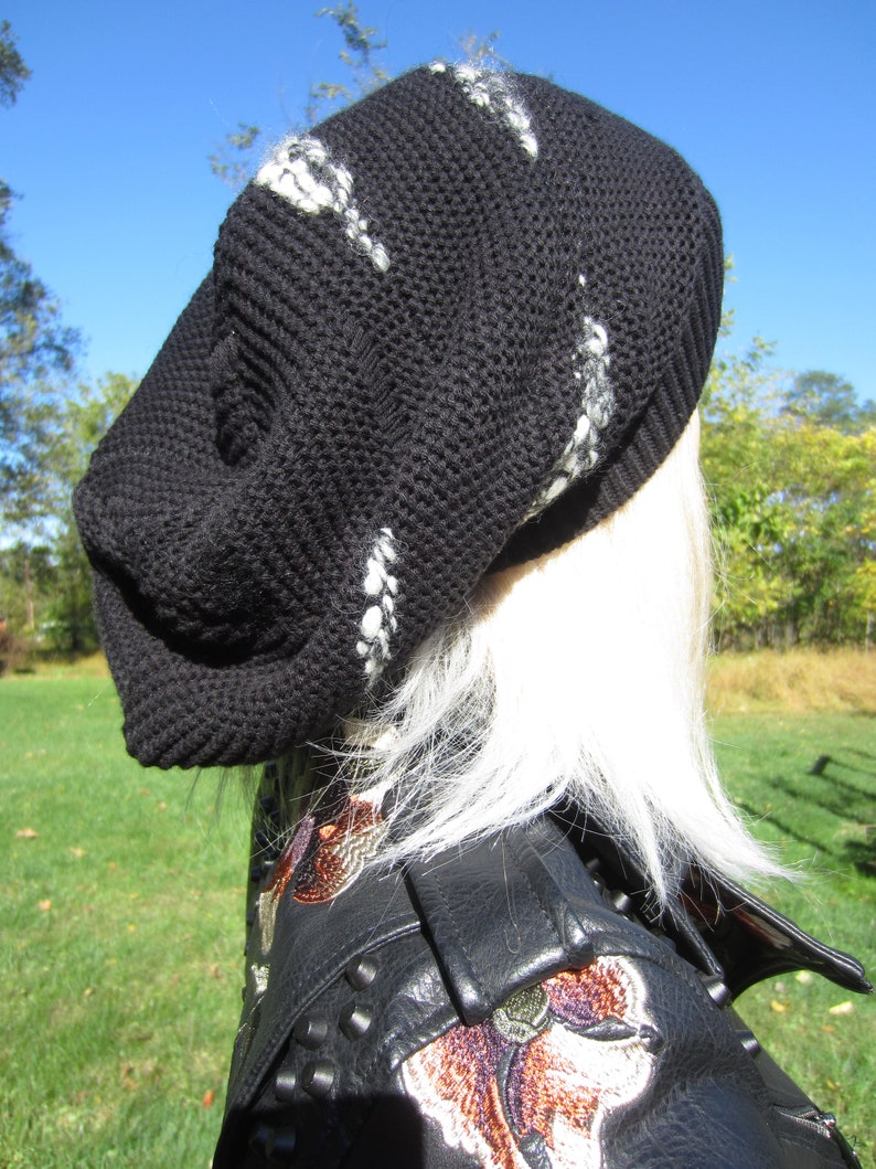 Black Oversized Slouch Tam Hat Black Cotton Blend Post Apocalyptic Reworked clothing Thick Bulky Big Beanie Embroidered Red or White A1988