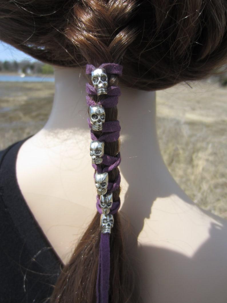 Skull Hair Jewelry Leather Hair Ties Ponytail Holder Biker  e1d04d277d8
