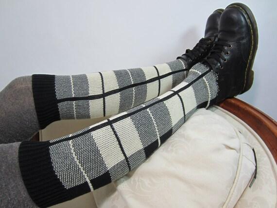 Black White Knee High Boot Socks Leg Warmers Plaid Cotton Knit A1391 by Etsy
