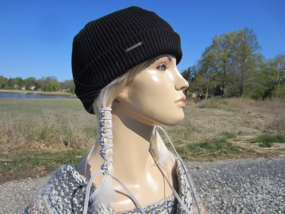 90134fced6546 Watch Cap Skullcap Black Rib Knit Hat Beanie Cotton Thick Warm