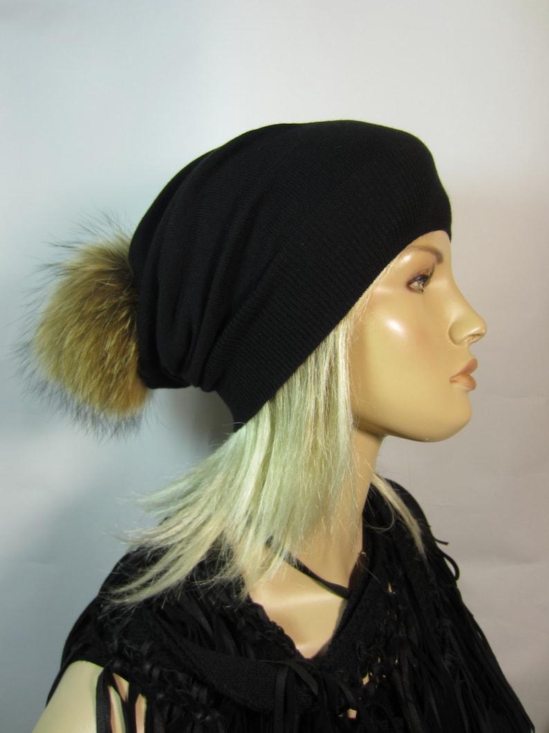 Black Cashmere Hat Fur Pom Pom Beanie Slouchy Beanies Bobble Tam Designer Hats By Vacation House A49 POM