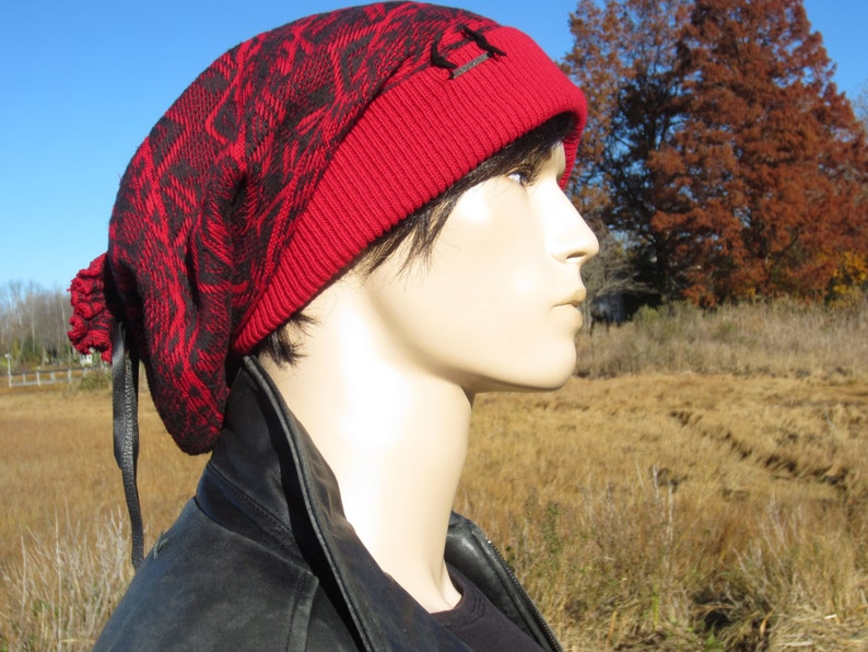 Extra Long Beanies Oversized Big Dreadlock Slouch Tam Hat Red  e80bb46e9b0