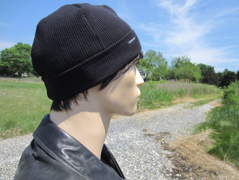 2b6e6064b Men's Thermal Knit Beanie Hat Skull Cap Hat Black Cotton Lightweight Waffle  Knit Logo Cuff Beanies Watch Cap A1883