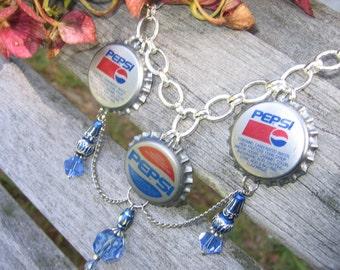Crystal Blue PEPSI Birthday Bottle Cap Necklace