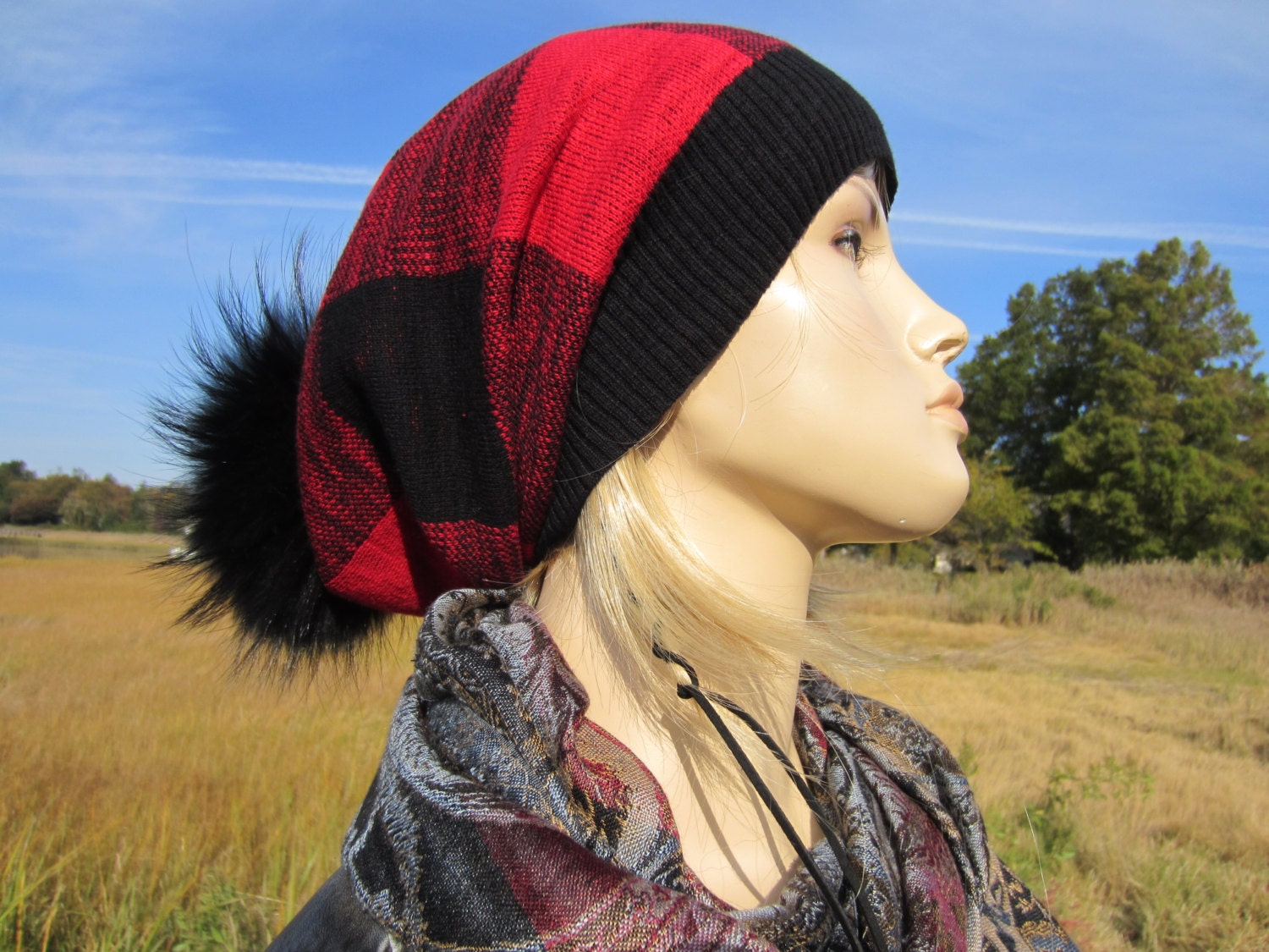 06c3daa235cac Real Fur Pom Pom bobble Hat Slouchy Beanie Buffalo Plaid Slouch Stocking Cap  Black Red Cotton Knit Tam Baggy Long Hats A1571