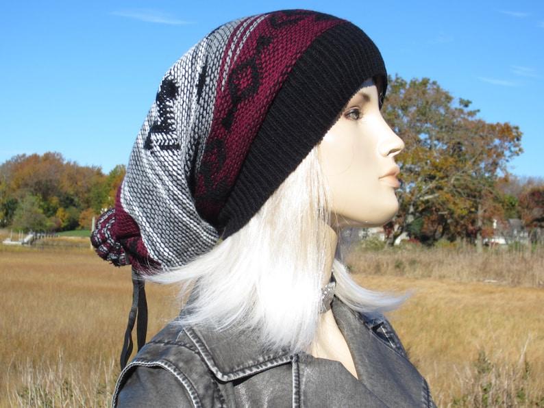 Tribal Print Slouchy Beanies Knit Warm Winter Hat Gray Black Burgundy Fair Isle Print Baggy Leather Tie Back Stocking Cap A1580