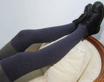 Purple Thigh High Leg Warmers Women's Knit Over the Knee Socks Plum Cotton Blend A1405