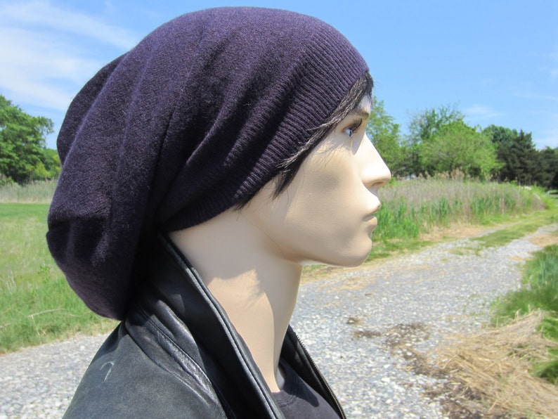b2333bb9ac6b56 Purple Hat Men's Cashmere Slouch Tam Extra Long 100% Pure | Etsy