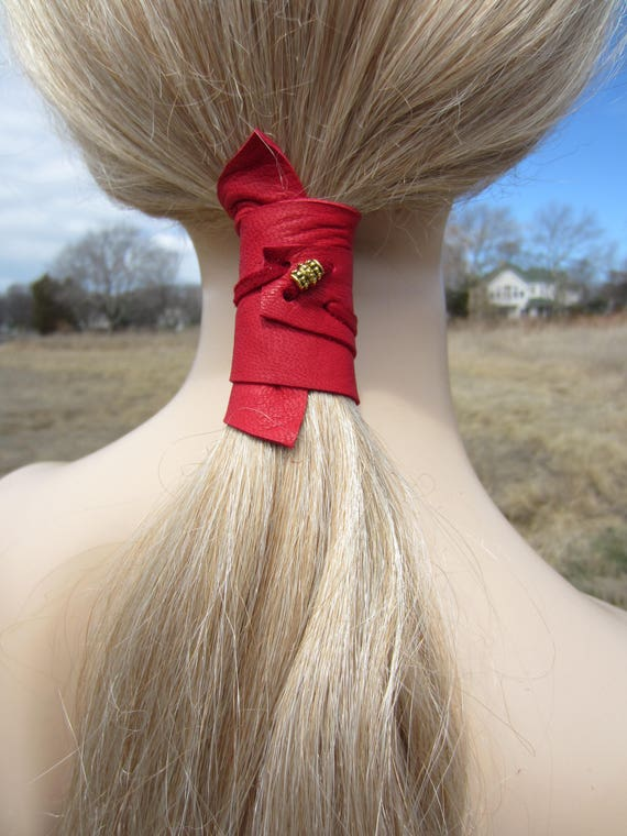 Ponytail Holder Beaded Hair Tie Red Leather Wrap Pony Tail  3a65aca3957
